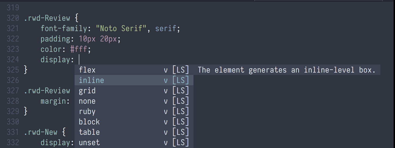 COC.vim showing possible completions