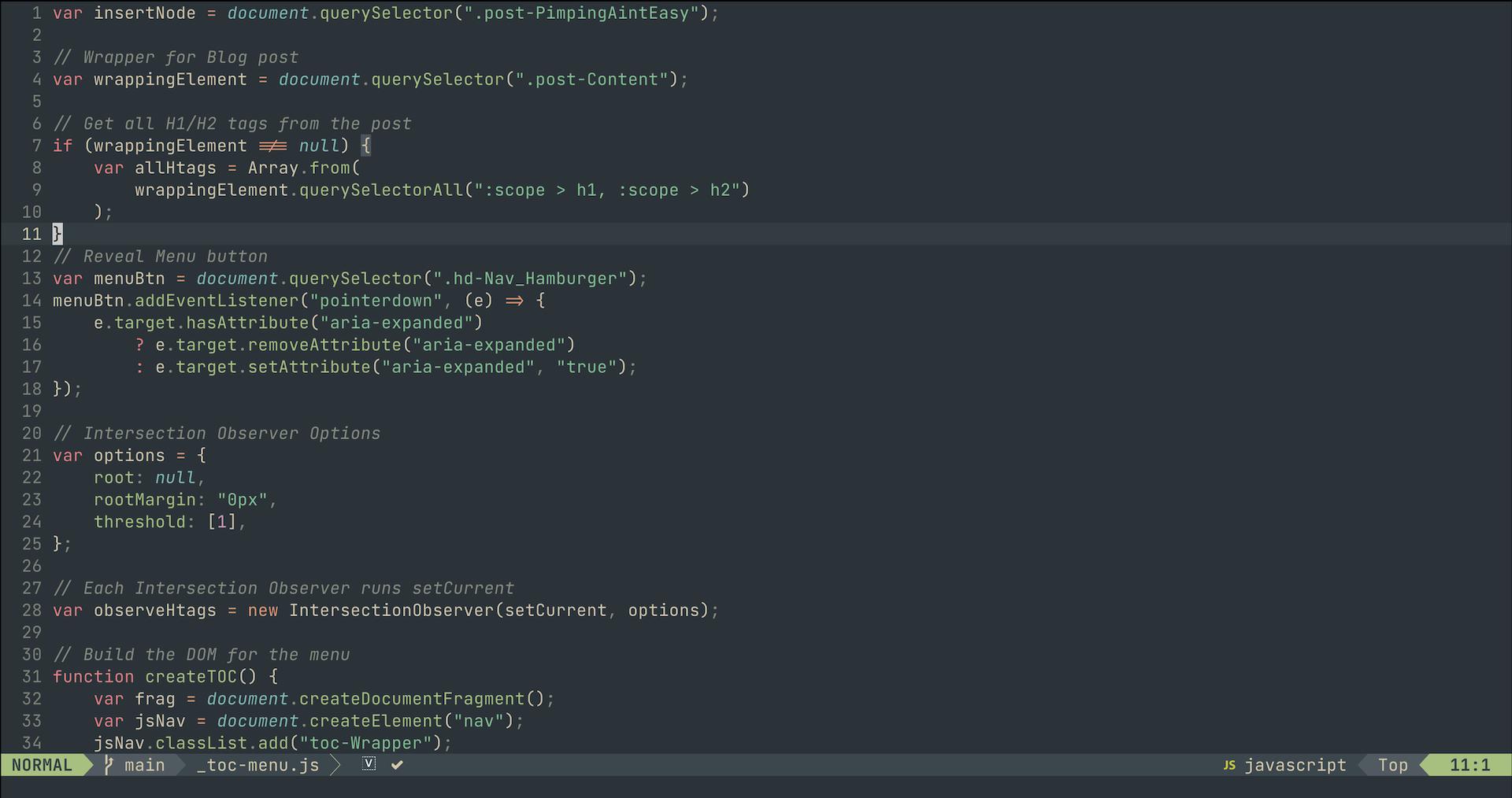 syntax highlighting of Vim language file